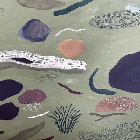 An olive green background has various Bushland forms scattered around the paper. Dark blue rock forms and angular brush strokes depict branches, grasses and Bushland floor matter. A white tree stump lays on the ground on the left side of the paper with a dark hollow inside and bark lines runny up it. Various other pockets of lined patterns across the bottom and right side of the paper