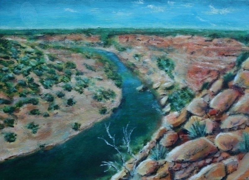 (CreativeWork) Murchinson River by Leon Lester. arcylic-painting. Shop online at Bluethumb.