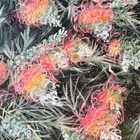 Courageous Love - Grevillea Peaches and Cream  By HSIN LIN <br> 60.9cm (W) x 91.4cm (H) x 3.5cm (D) 12/02/2020 Acrylic on Acid free Gesso primed Canvas  Ready to hang  Side panel painted: Black <br> Affirmation - Brave to be bold, to be different and born to be yourself. <br> Grevillea - primarily native to Australia, are evergreen shrubs or trees of great beauty with needle-like to fern-like foliage and incredibly flamboyant flowers.  It has magnificent flowers in varied shapes and forms. Most have long flowering periods. The species I encountered in my neighbourhood is peaches and cream- has the most stunning, harmonic greenish- yellowy -pinkish colour hue. <br> In this painting, the flowers stand out gloriously from the leaves at the background.  It is one of my favourite trees. I adore the beauty of it every day I walk into the woods.  The bloom of it stands for Boldness, Strength and Courage.  Exactly what I would like to express in this piece. <br> -WILD BOTANICAL ABSTRACT SERIES 2020 by H.Lin- <br> Artwork inspired by nature at Bayswater, Melbourne, Victoria, End of Summer, 2020. -HSIN LIN <br> Enjoy the step by step time lapse video of this artwork please visit : https://youtu.be/KDlI4qFd59Y <br> 10th July -1st August 2021 Camberwell Art Show