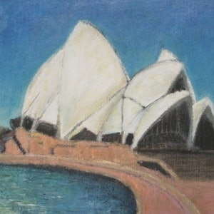 (CreativeWork) Sydney Opera House 2009 II by Leon Lester. arcylic-painting. Shop online at Bluethumb.