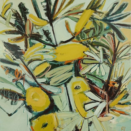 Abstract flower painting with banksias