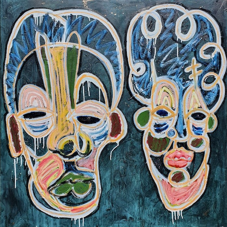 abstract street art style portrait of two faces made with brightly coloured oil sticks against a dark background.