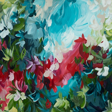 Large red and blue abstract of floating organic leaves in a modern impressionist style
