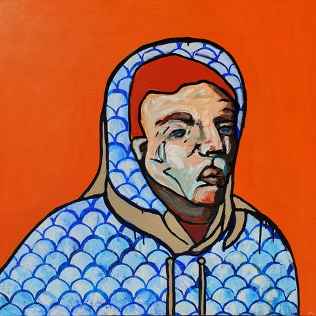 abstract figure wearing patterned blue and white hoodie with textured face and orange background.