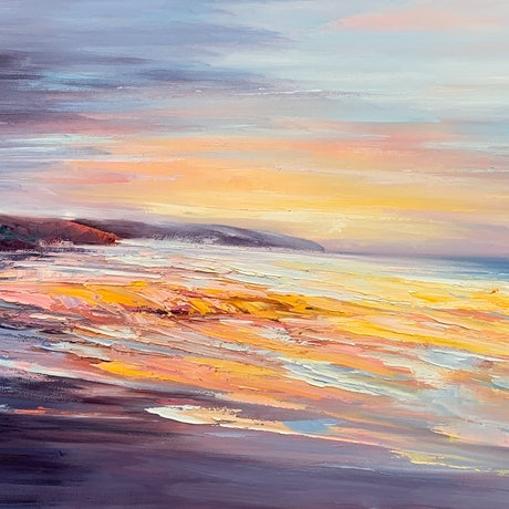 Seascape painting with orange and blue colours.