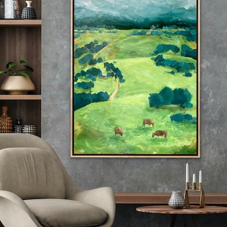 Moody country vista with paddocks and rows of trees