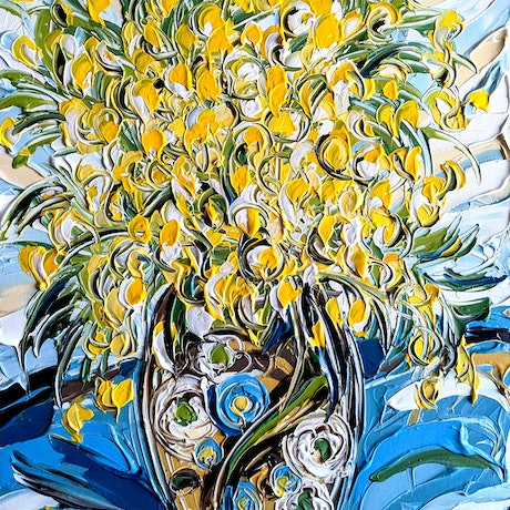 An art deco vase full of bright yellow wattle, painted with heavily textured acrylic paint.