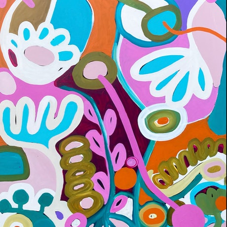 Colourful flowers and shapes in a modern