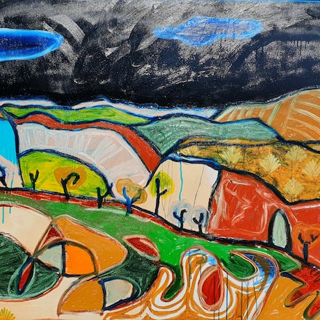 brightly coloured abstract landscape of different coloured and patterned hills with trees. created with oil stick