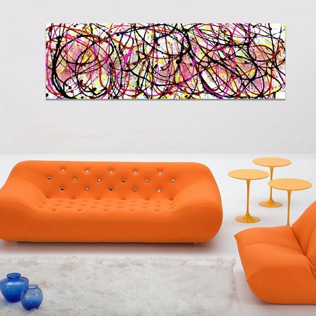 Painting shown in  a lounge room