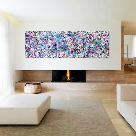 Painting shown on a lounge room wall
