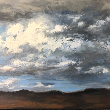 A moody cloudscape painted on a windy day with constantly changing weather conditions.