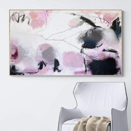 Pink black and white expressive mark s evoking moody emotions