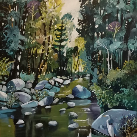 An atmospheric landscape featuring a river, trees and rocks