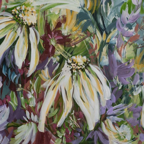Colourful daisy flower painting in a garden