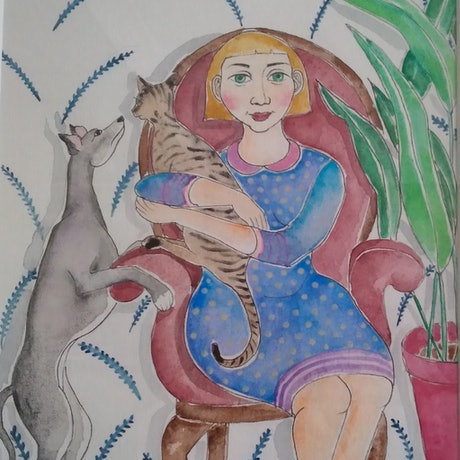 Woman with her pet cat and dog, living a content life
