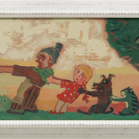 """This painting is based on a popular Russian folk tale""""Repka"""".  It is a progressive story, in which a grandfather plants a turnip (""""repka"""" in Russian), which grows so large that he cannot pull it up himself. He asks the grandmother for help, and they together still cannot pull it up. Successively more people are recruited to help (the granddaughter, the dog, the cat and the mouse), until they finally pull the turnip up together. There is no Turnip in my version. The grandfater is huging a gigantic bottle of Vodka, and the whole family is trying to pull him away from the bottle. Now it is a fairy story for adults about .... drinking problem."""