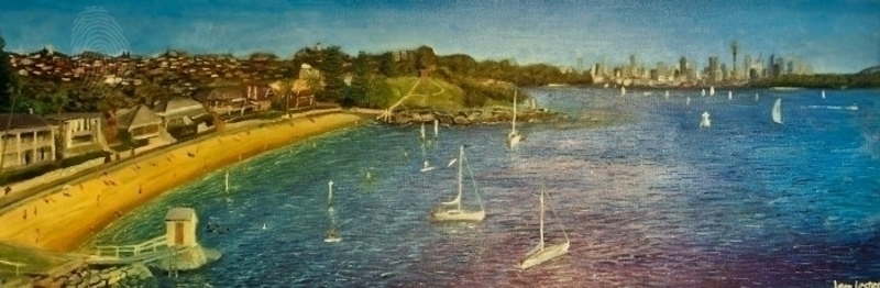 (CreativeWork) Camp Cove by Leon Lester. oil-painting. Shop online at Bluethumb.