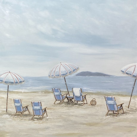 Beachside deck chairs and umbrellas