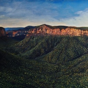(CreativeWork) Govett\'s Leap and Grose River Valley' Blue Mountains' New South Wales by Leon Lester. oil-painting. Shop online at Bluethumb.