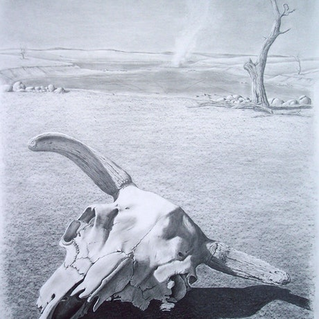 A drought stricken landscape featuring a lonely cow skull laying in front a dried up lake with a dust devil swirling in the distance.