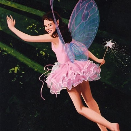 A dainty fairy is flying into the forest with her sparkly wand - just the thing for your daughter's wall
