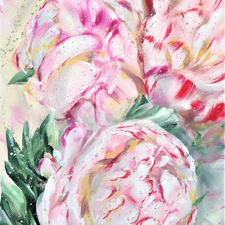 Love Me True  - Peony Roses -  By HSIN LIN 04/12/2019 40.6 x 50.8 X 1.5 cm Acrylic on Acid free Gesso primed Canvas D-rings and wire attached at the back. Ready to hang Side panels painted:  Unbleached Titanium to match. Perfect for White / Cream / Dark colour wall.  This artwork can also be hung together with -Love Me Tender- Peony Roses – as a set.  Affirmation: You made me the person who I am and I love you so.  The peony is often associated with romance and prosperity. It also symbolise good fortune and happy marriages because the blossoms of the peony flower are round which symbolise fortune.  There's also a saying that when the peony bushes in the garden are full of flowers or bloom during spring then the family will have a good fortune ahead. Here I present you my favourite flower, bloom gloriously in grace, in every day, every season.   -WILD BOTANICAL ABSTRACT SERIES 2019 by H.Lin- Artwork inspired by nature in Bayswater, Melbourne, Victoria, Summer 2019.  -HSIN LIN