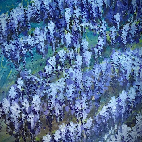 Memory- Wisteria 10/10/2017 . By HSIN LIN <br> 29.5*42*0.1 cm Original Artwork. Acrylic on Paper. Artwork size -29.5*42*0.1 cm <br> Salute to the dreamlike wisteria , bloom in glorious for itself. The most beautiful memory that we have in spring. <br> Wisteria symbolizes good luck, mystery and beauty, also stands for Long- life and immortality. <br> Artwork inspired by a neighbour's beautiful Wisteria in Bayswater ,Victoria, Spring 2017. -HSIN LIN -13rd-28th Jan 2018 Members Exhibition @ The Hut Gallery <br> Enjoy the making of this artwork please visit : https://www.youtube.com/watch?v=KtehTsGzcZM