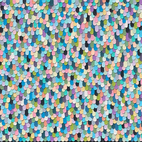 Bright blue green pink colourful textured painting.