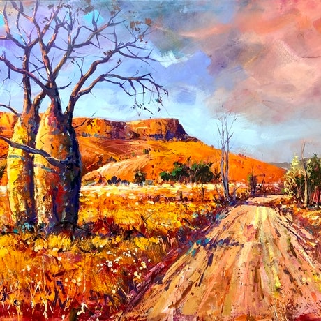 Boab trees in landscape in vibrant colours.