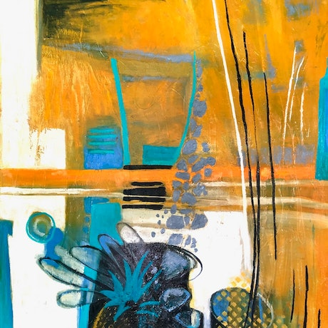 This piece is an abstracted still life painted in oils. it would look good in a kitchen or dining room. It ha a white frame and ready to hang.