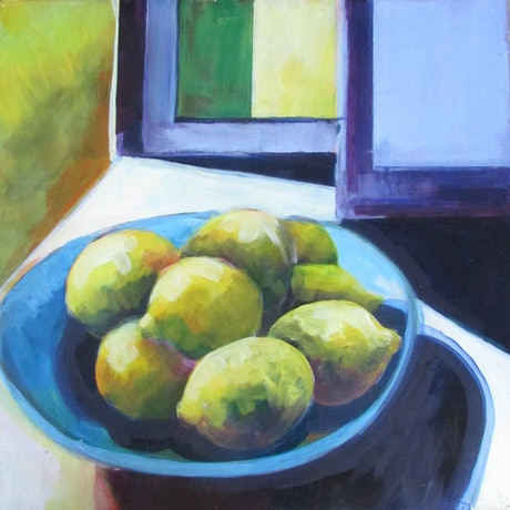 group of lemons placed on flat blue dish, background of abstracted shapes in violet, yellow and green