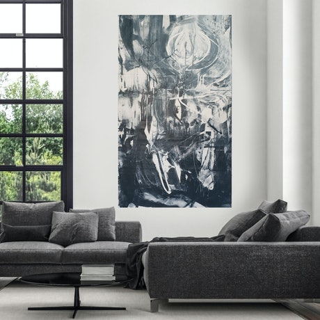 A large dark blue and white abstract depicting the moon in the Autralian Outback.