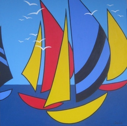 (CreativeWork) Sailboats #2 graphic by Cherry Lee. mixed-media. Shop online at Bluethumb.