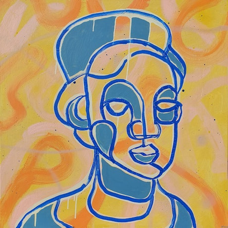 abstract cubist style portrait of woman in blue and yellow acrylic paint.