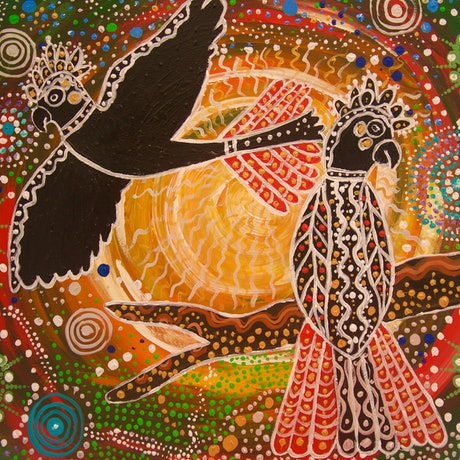A Red Tail Black Cockatoo flying in Aboriginal colours