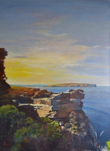 (CreativeWork) The Gap - (Watsons Bay' Sydney) by Wirata .. arcylic-painting. Shop online at Bluethumb.