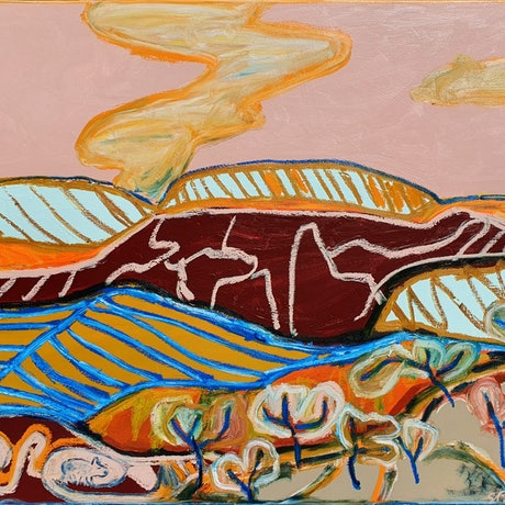 colourful abstract landscape of hillside with trees and wombat burrow created in a primitivist style.
