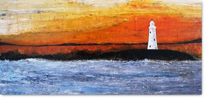 (CreativeWork) Lighthouse one summer dusk by Ben Alvarado. oil-painting. Shop online at Bluethumb.