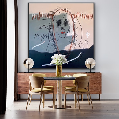 Original Artwork  Painting :Silkscreen , Charcoal , Graphite , Oil Stick , Oil and Acrylic on Canvas Original : One-of-a-kind Artwork Size: 150cmx 150 Frame : Not Framed Packaging : Ships Rolled in a Tube  In Stock & Ready to Ship! Signed on Front
