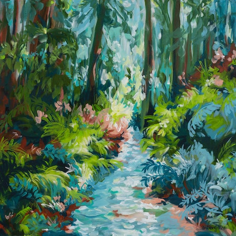 blue and green impressionist style forest landscape with a running river.
