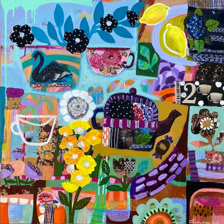 Square painting with teapot and quirky cups and planters in a colourful jumbled patchwork  style.