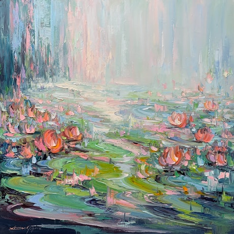 Water lilies with green and blue colours.