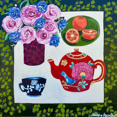 Square canvas with red teapot on table with blue and white teacup and a vase of pink roses.