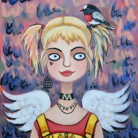 Girl with a bird. Surrealistic portrait of Margot Robbie as Harley Quinn.