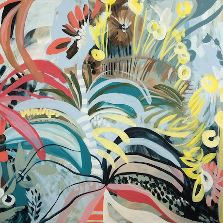 colourful organic flower and tropical leave shapes form a colourful abstract scene in a tropical parklands.