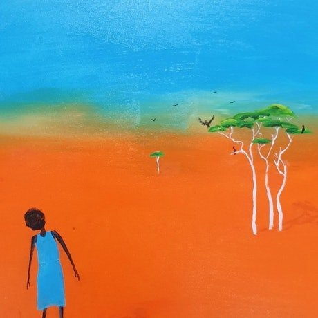 A lady in the outback looks up at a jet and dreams of flying to a far away place. Destination unknown.
