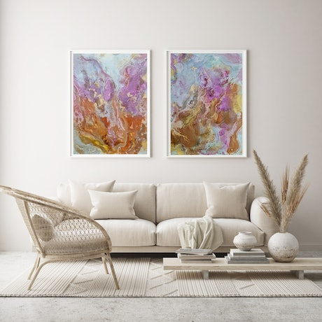 Abstract with pinks, oranges and gold