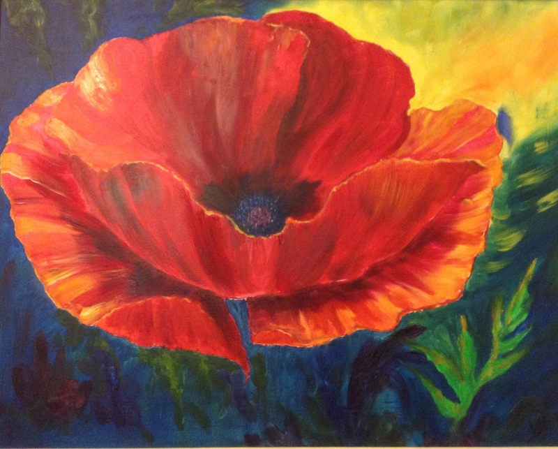 (CreativeWork) Big Poppy by Valerie Eugarde. oil-painting. Shop online at Bluethumb.