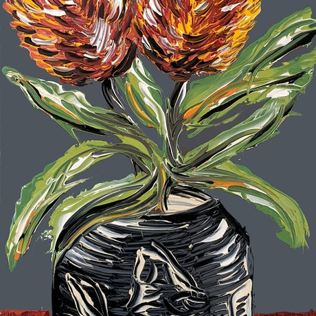 Two menziesii banksias painted in a modern clay vase with a dark grey background.